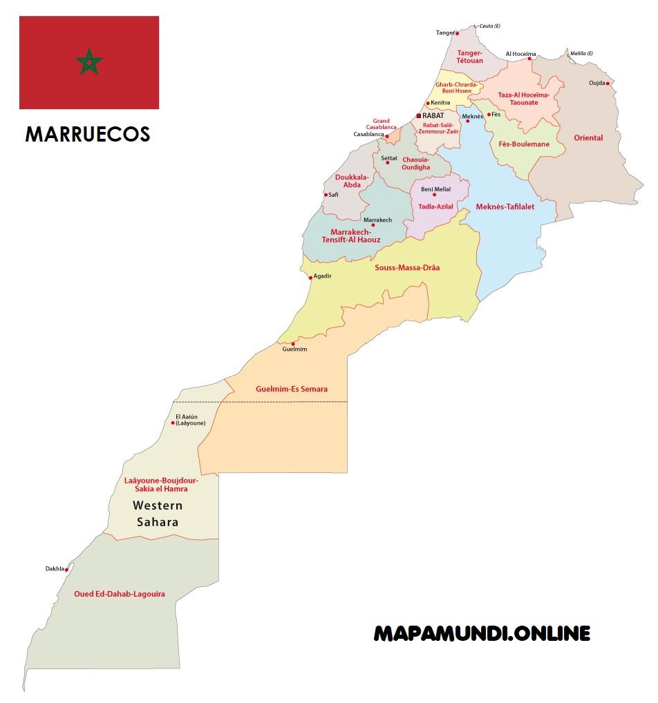 mapa marruecos division territorial
