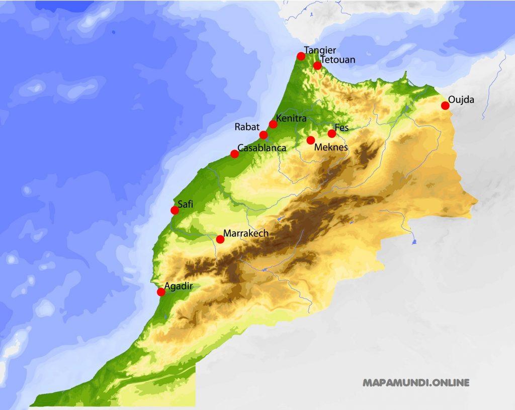 mapa marruecos fisico politico
