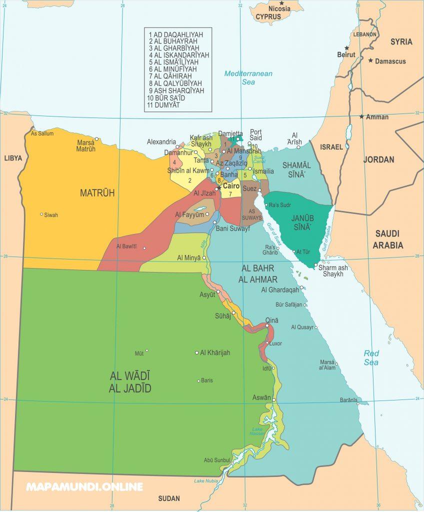 mapa politico egipto actual