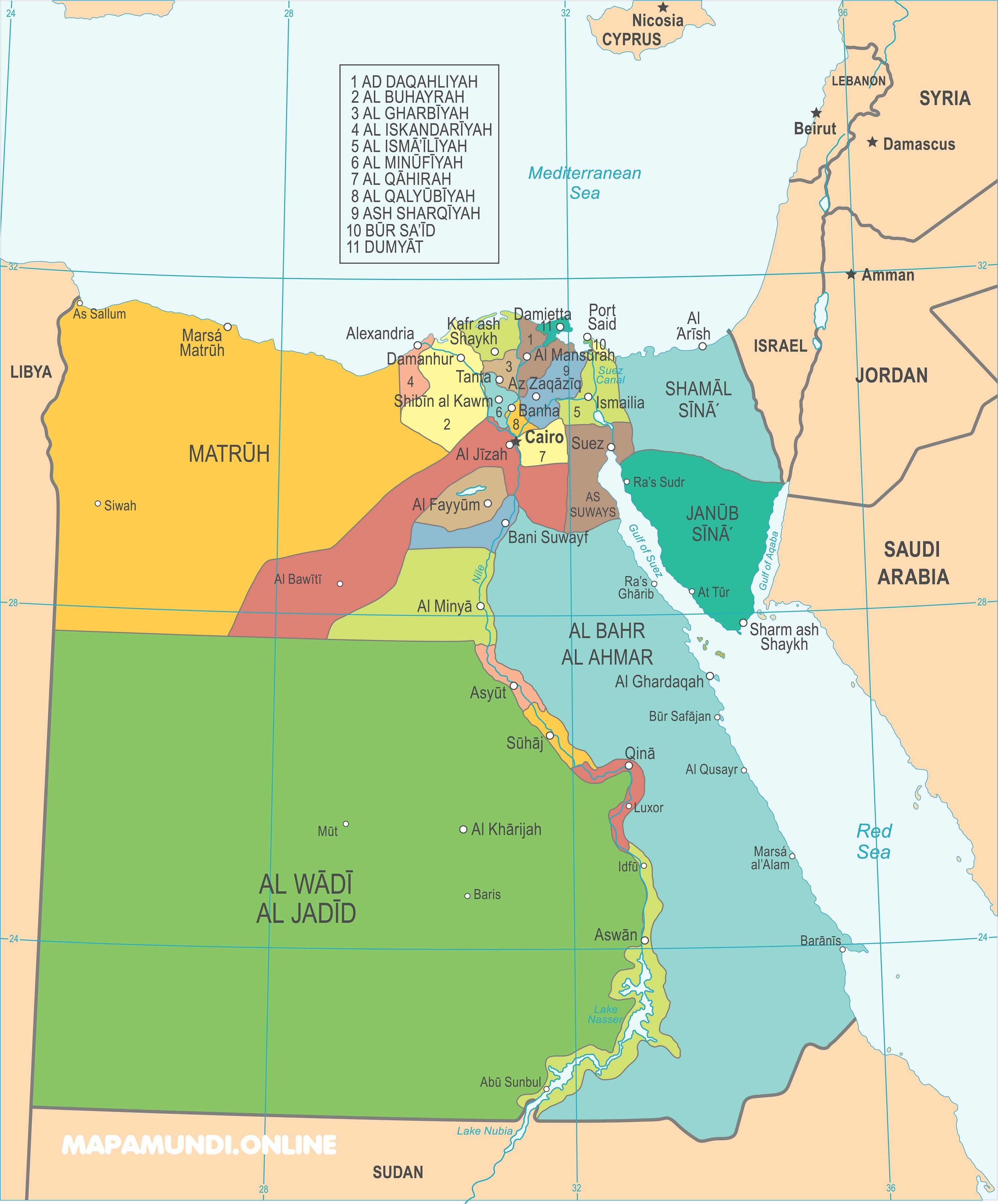 Mapa De Egipto Político Físico Para Imprimir 2021
