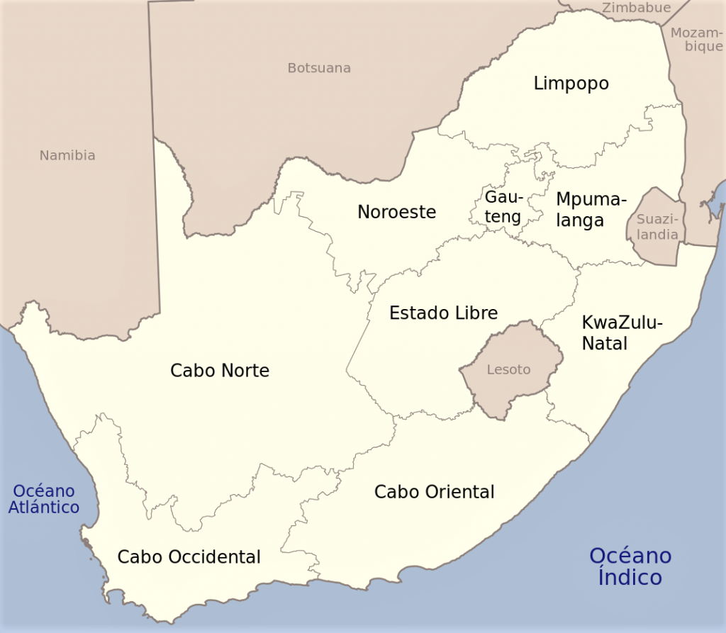 mapa sudafrica con nombres en español