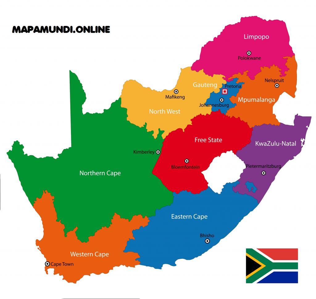 mapa sudafrica division politica