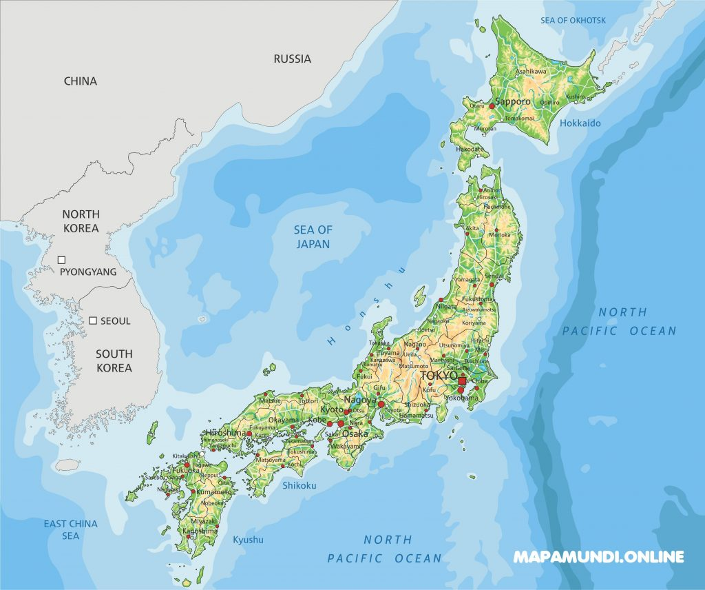 mapa fisico politico japon para imprimir