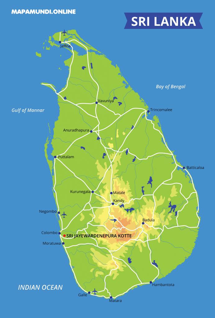 mapa fisico politico sri lanka