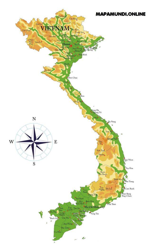 mapa fisico politico vietnam