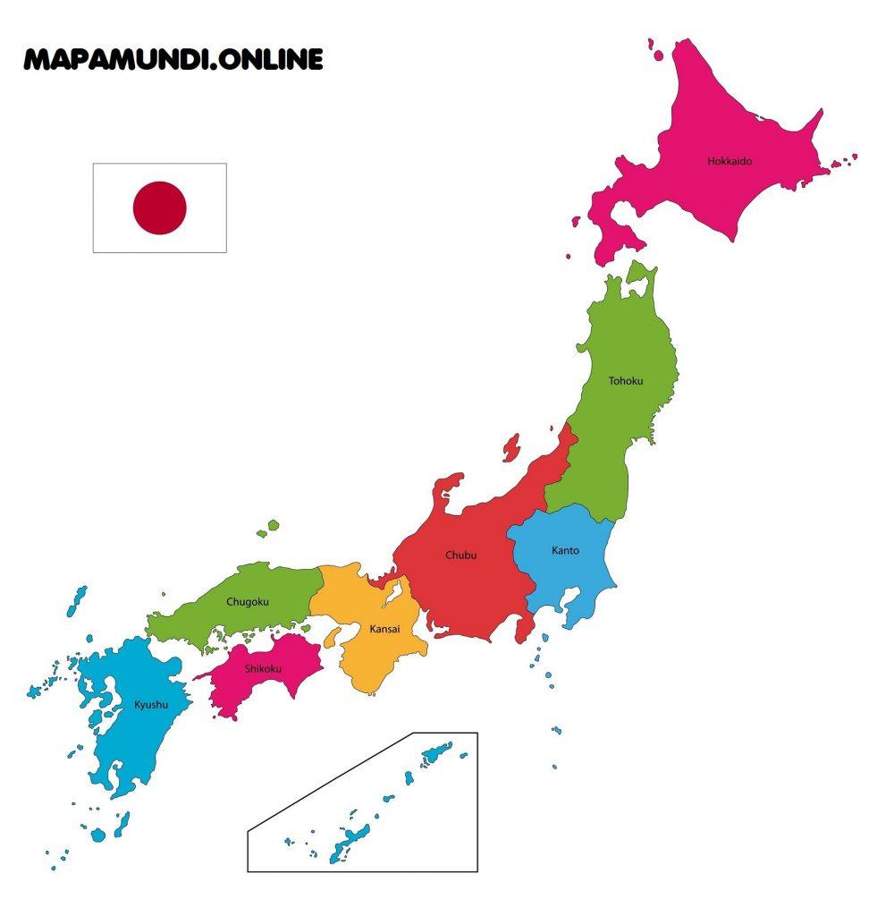 mapa regiones japon politico