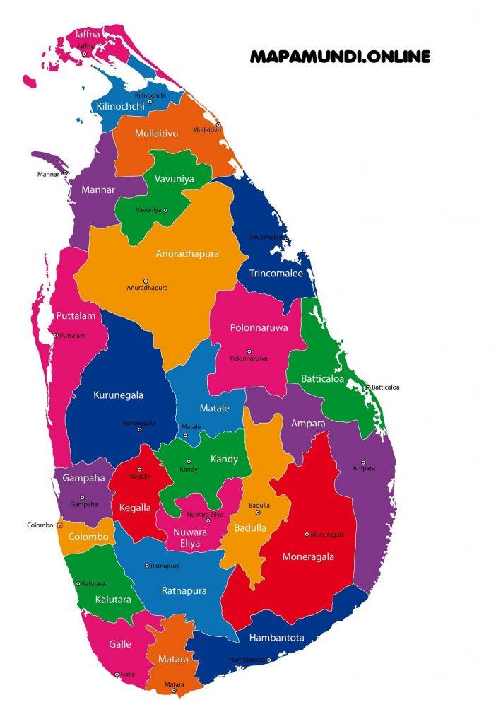 mapa regiones sri lanka nombres
