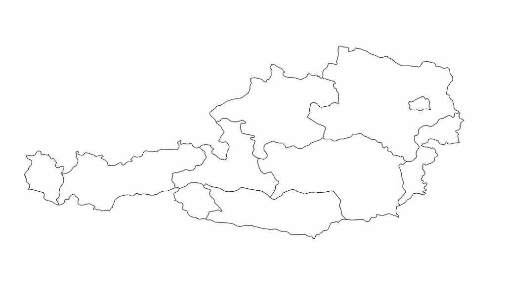 mapa de austria blanco mudo para colorear pintar dibujar y rellenar para niños