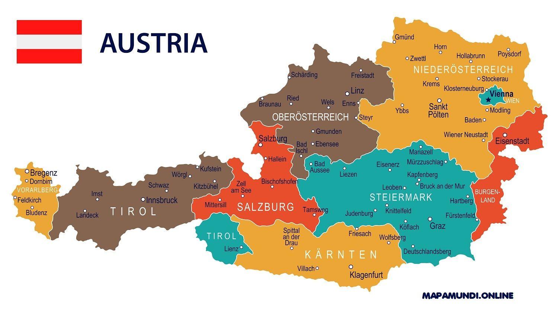 Mapa Politico De Austria.Mapa De Austria Politico Fisico Turistico En
