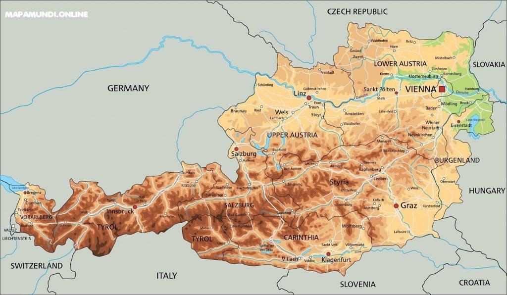 mapa austria fisico politico