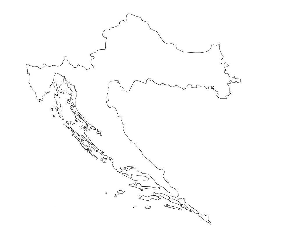 mapa croacia mudo para colorear