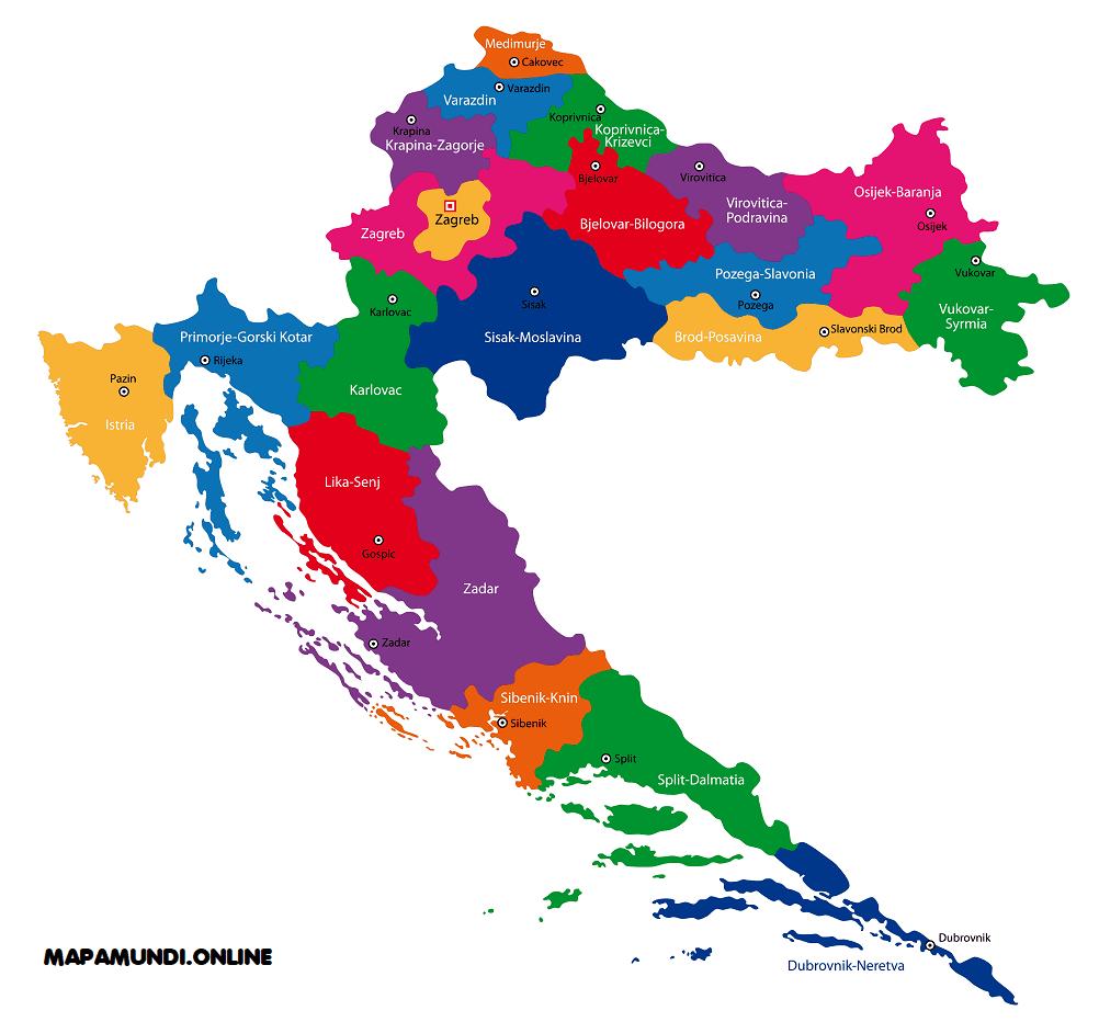 mapa croacia nombres ciudades capitales