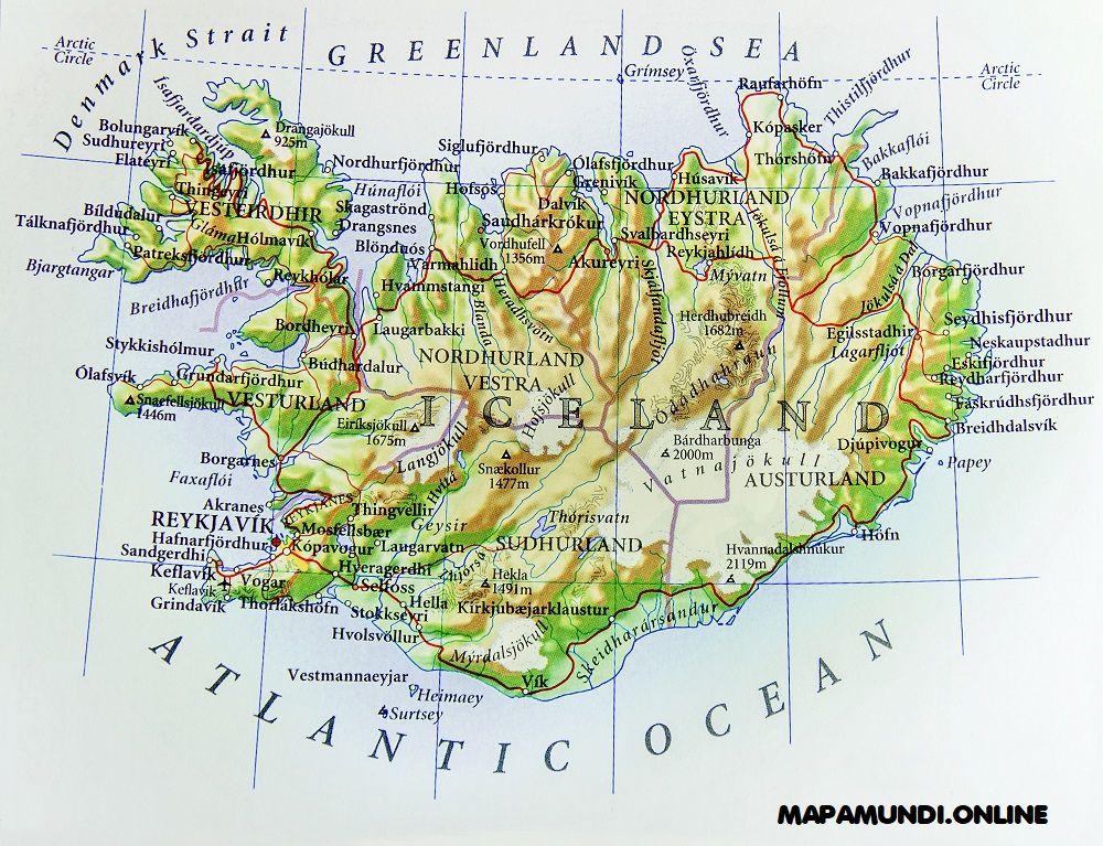 mapa de islandia fisico politico con nombres de ciudades