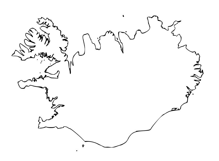 mapa islandia para colorear en blanco
