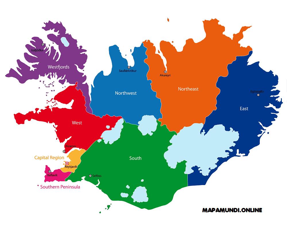 mapa de islandia politico con ciudades capitales y regiones