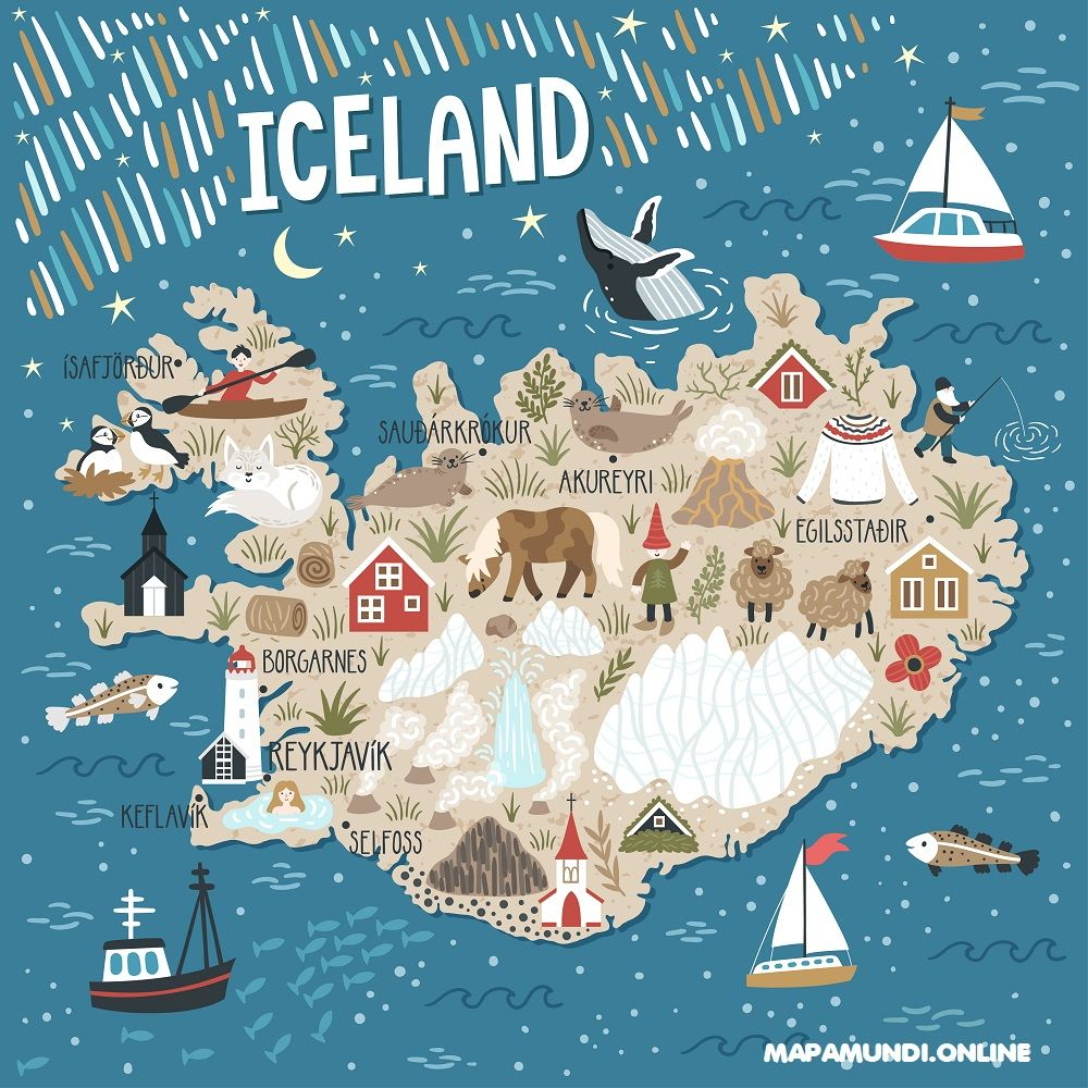 mapa islandia turistico lugares de interes