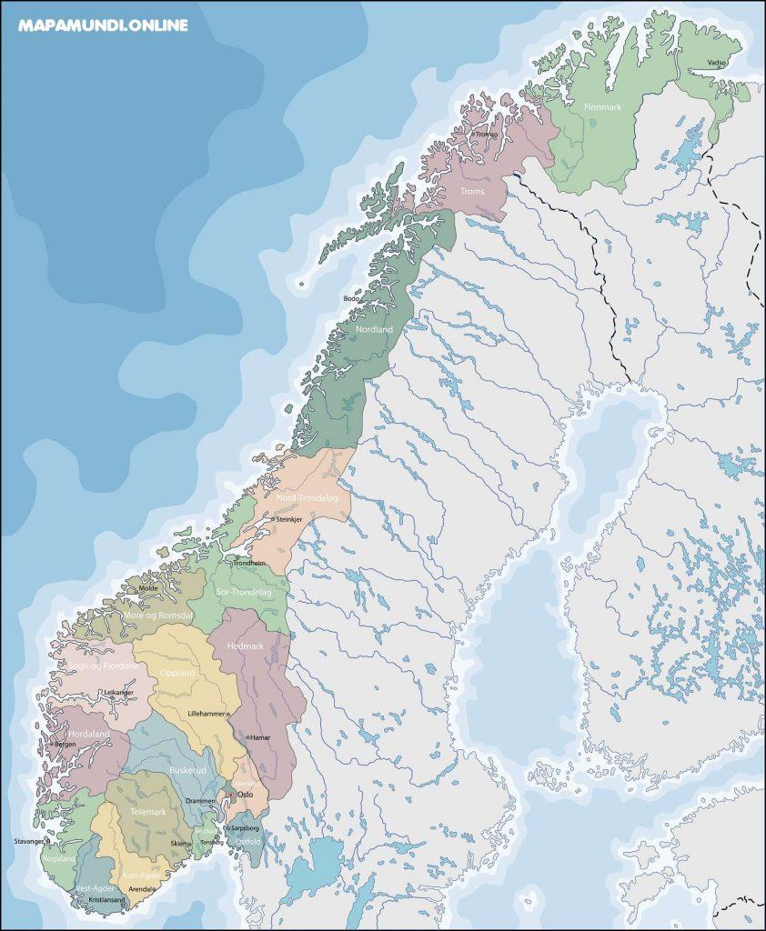 mapa noruega politico con nombres de regiones y capitales