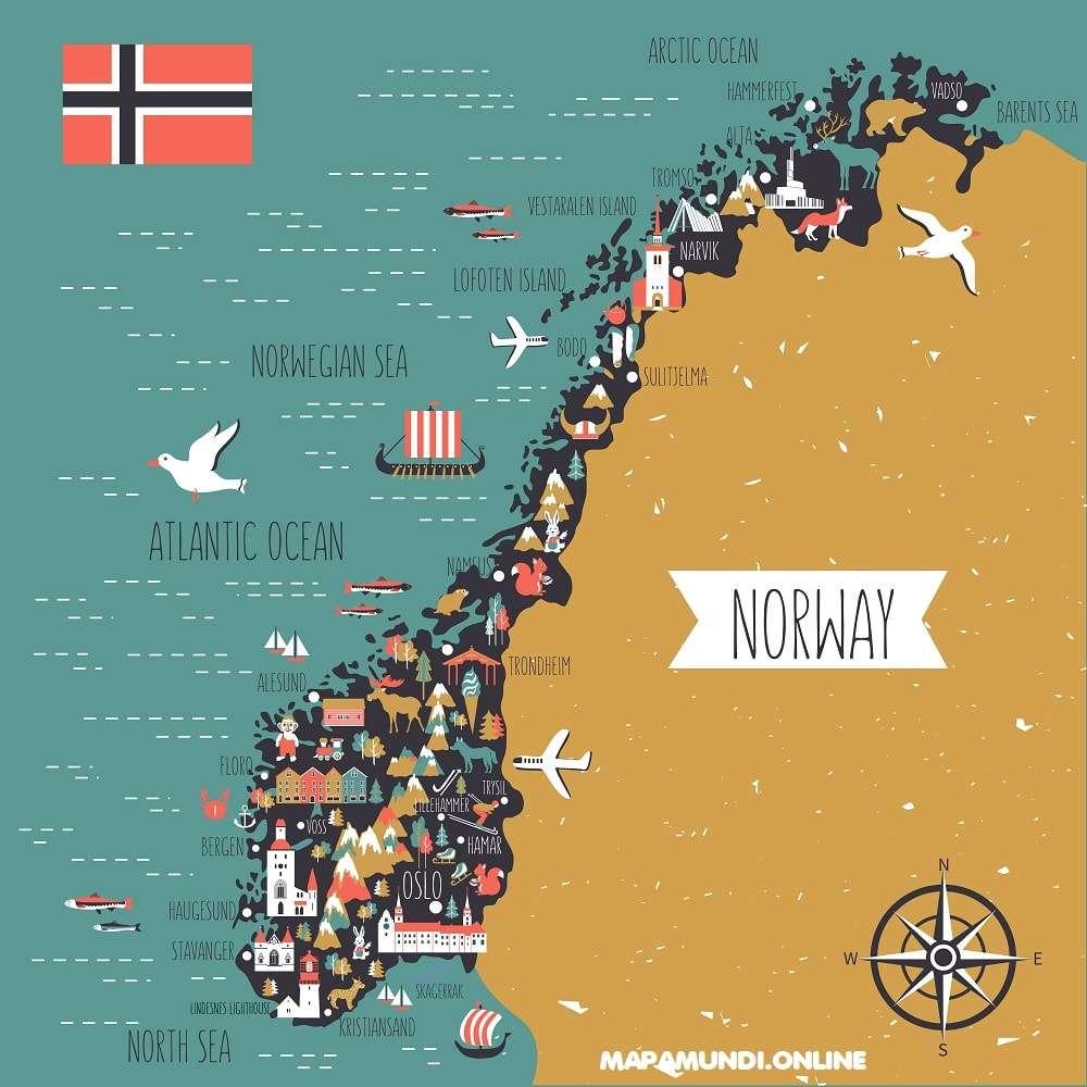 mapa turistico noruega lugares de interes