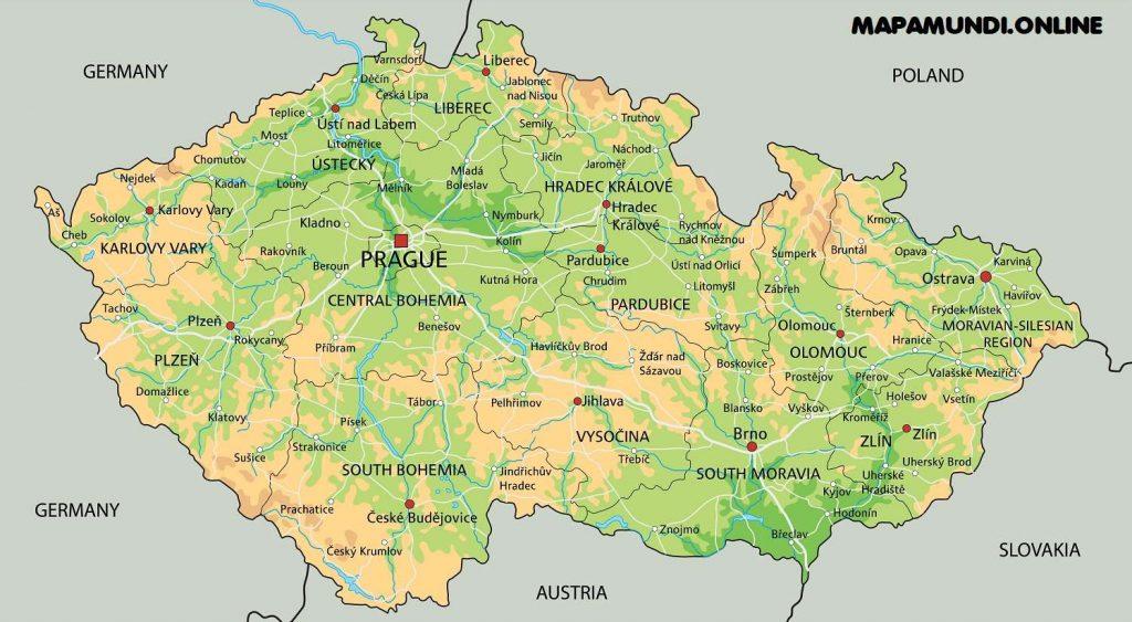 republica checa mapa fisico con nombres ciudades