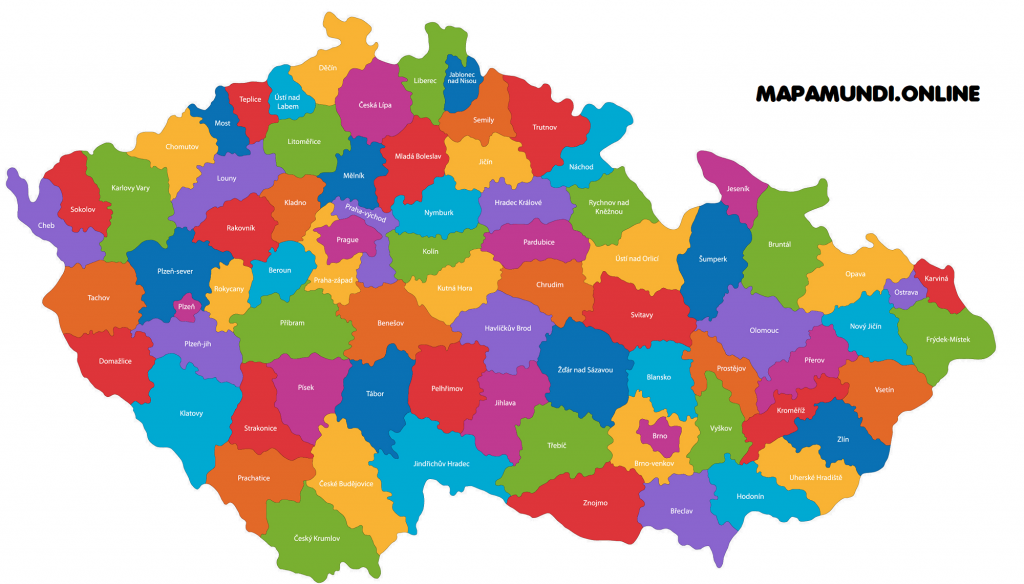 mapa republica checa politico con nombres de provincias y ciudades