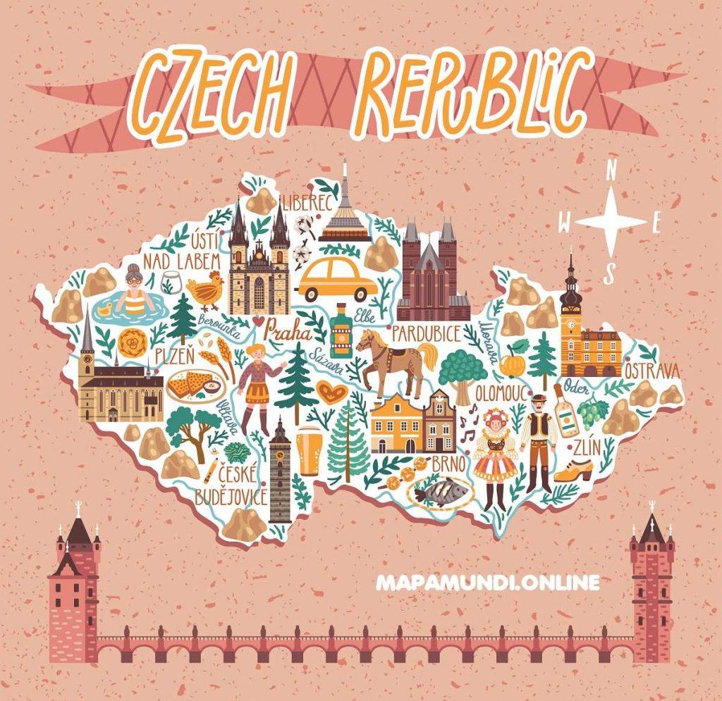 mapa republica checa turistico con dibujos