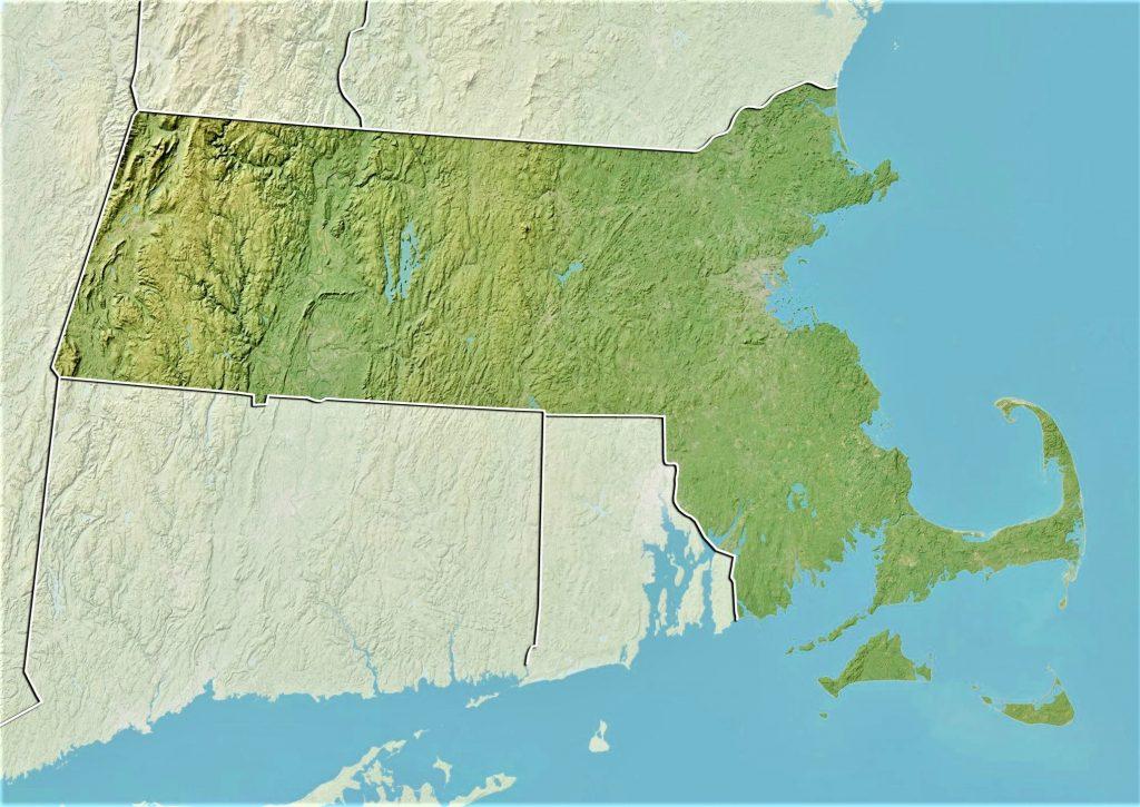 Massachusetts mapa fisico