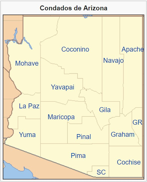 mapa condados arizona
