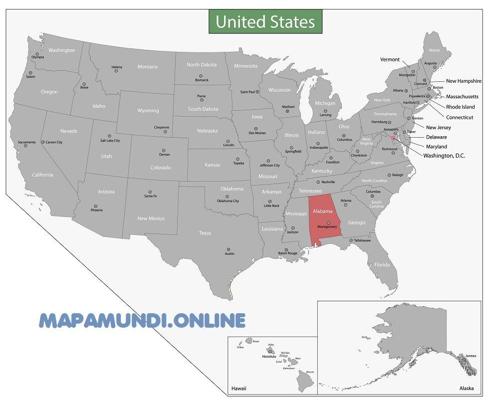mapa alabama eeuu estados unidos
