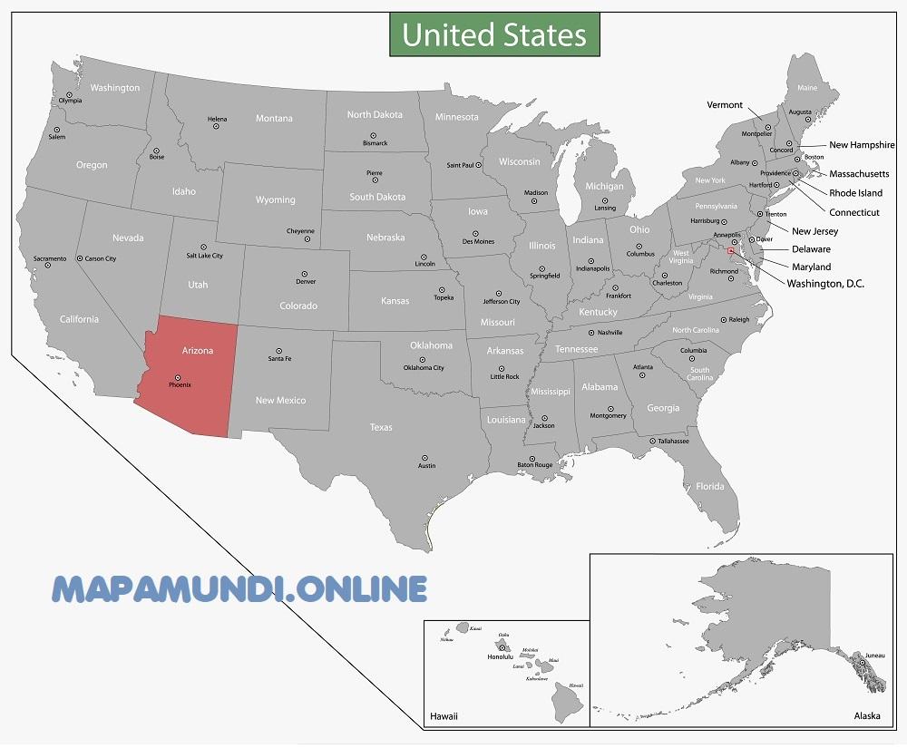 mapa arizona eeuu