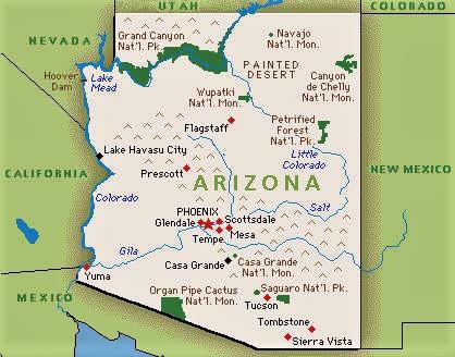 mapa arizona fisico