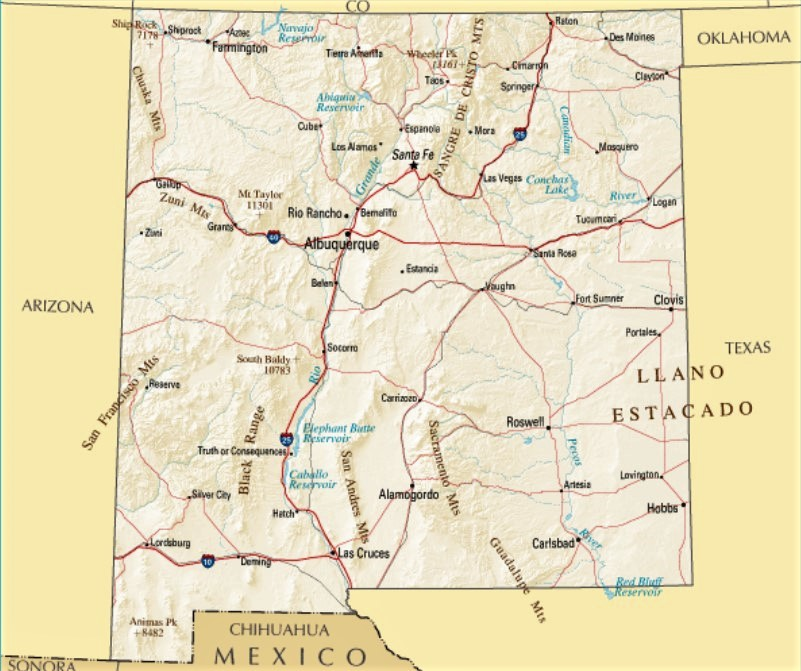 mapa fisico nuevo mexico