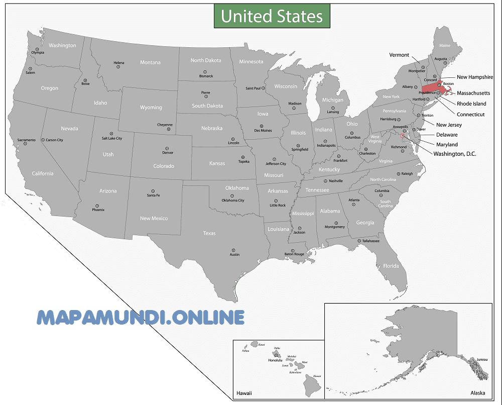 Massachusetts mapa eeuu estados unidos