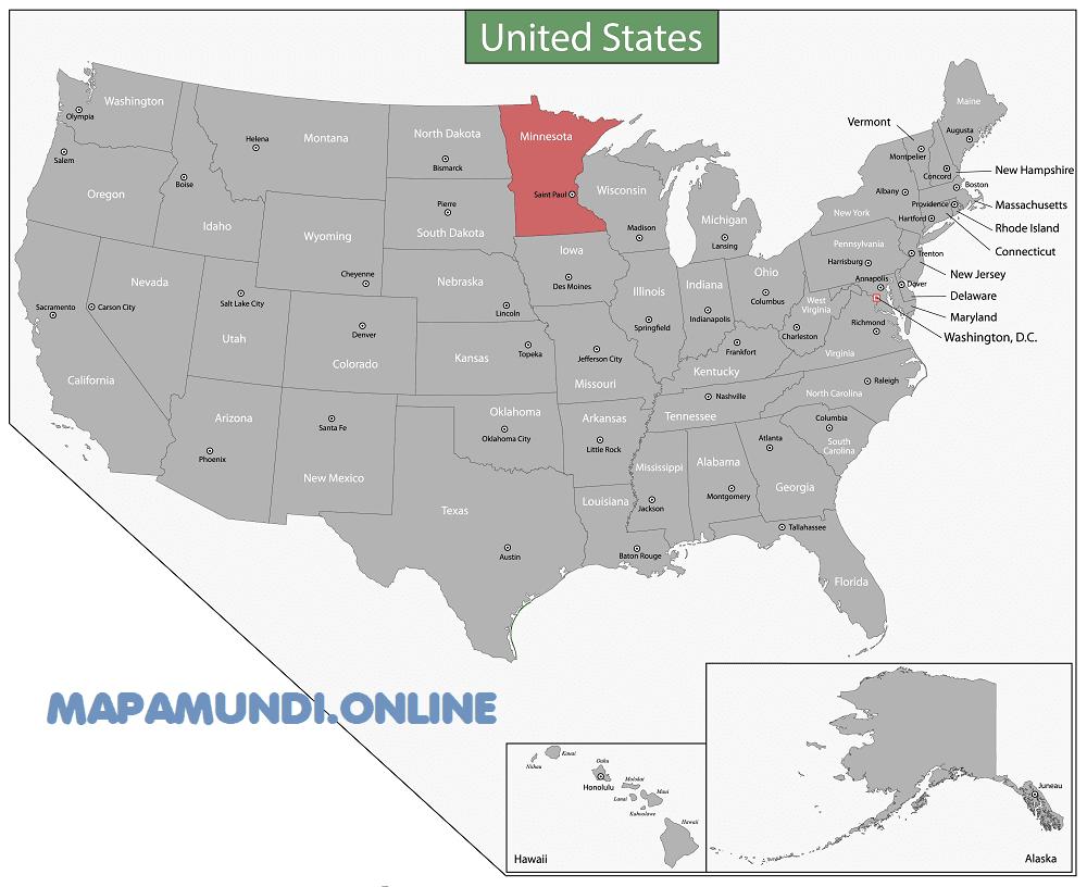 mapa minnesota eeuu estados unidos