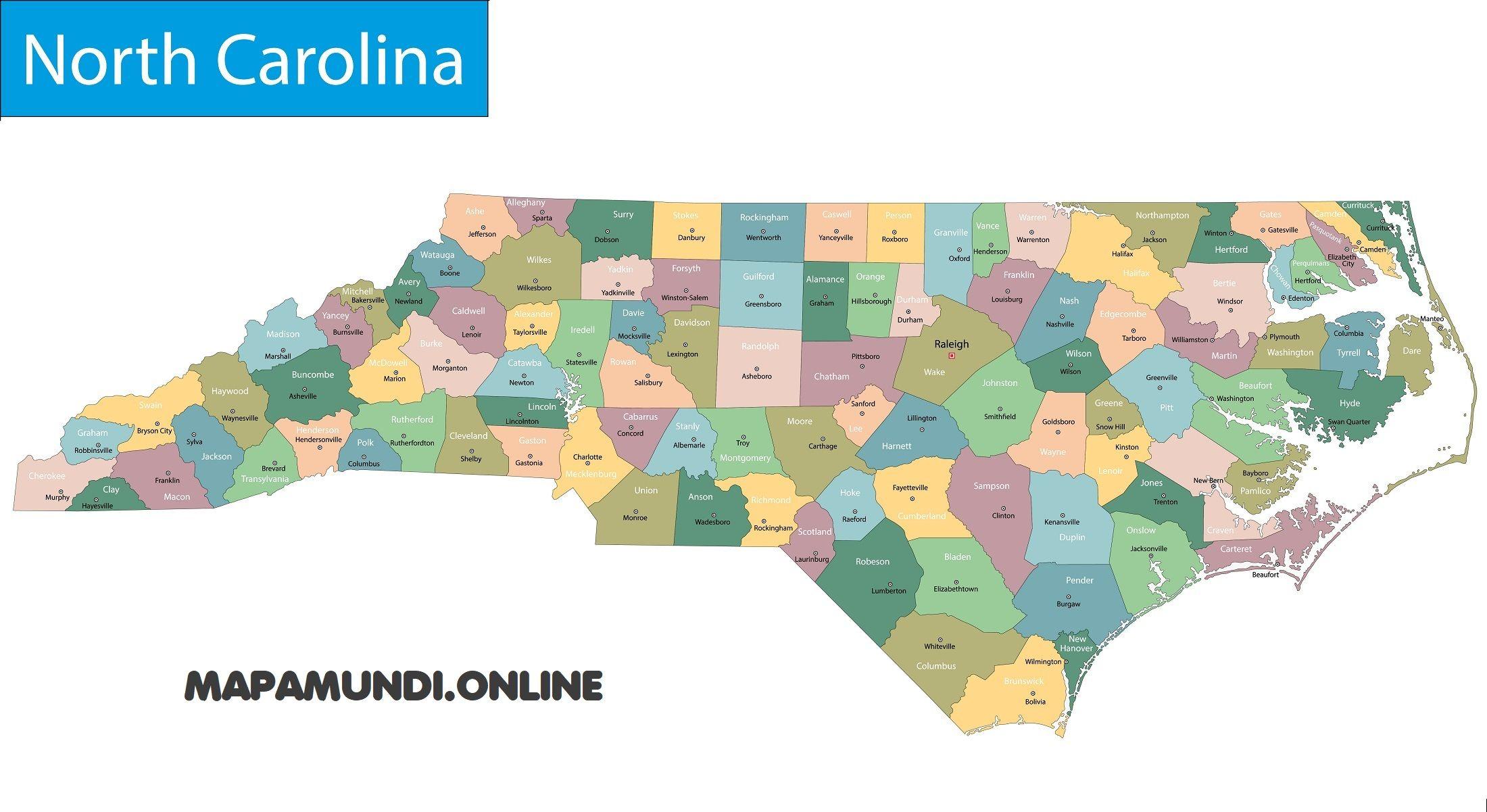 Carolina Del Norte Mapa.Mapa De Carolina Del Norte Politico Y Fisico