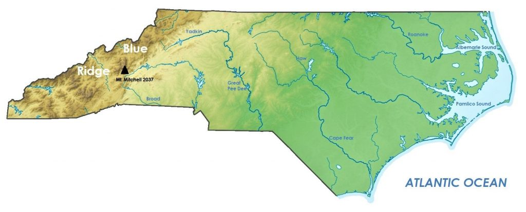 mapa fisico carolina del norte