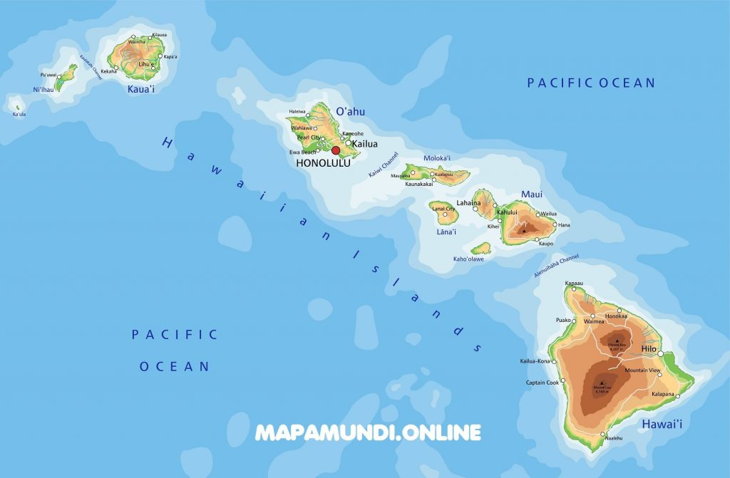 mapa islas hawaii archipielago