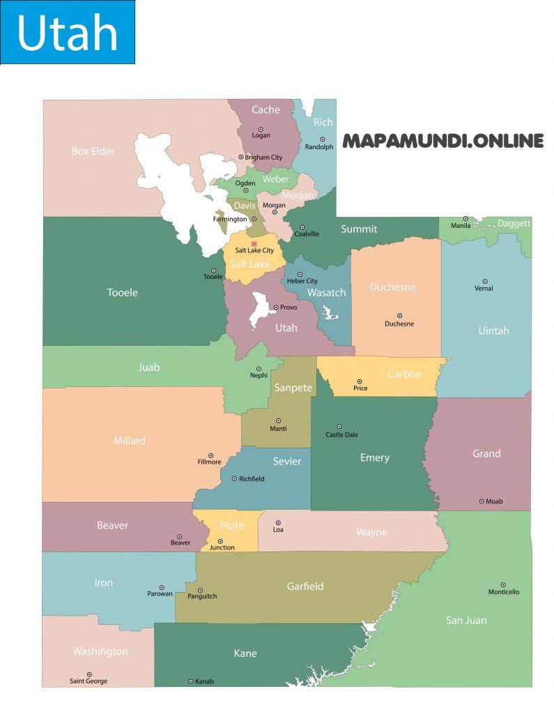 mapa utah con nombres