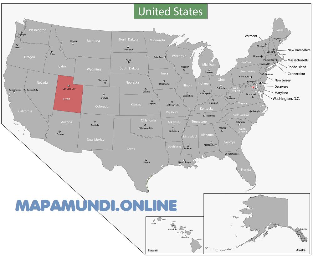mapa utah eeuu estados unidos