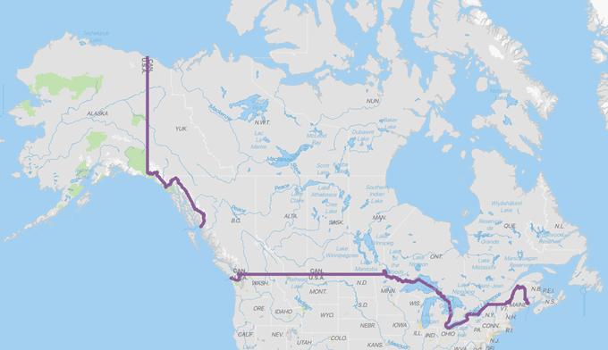 mapa frontera canada estados unidos