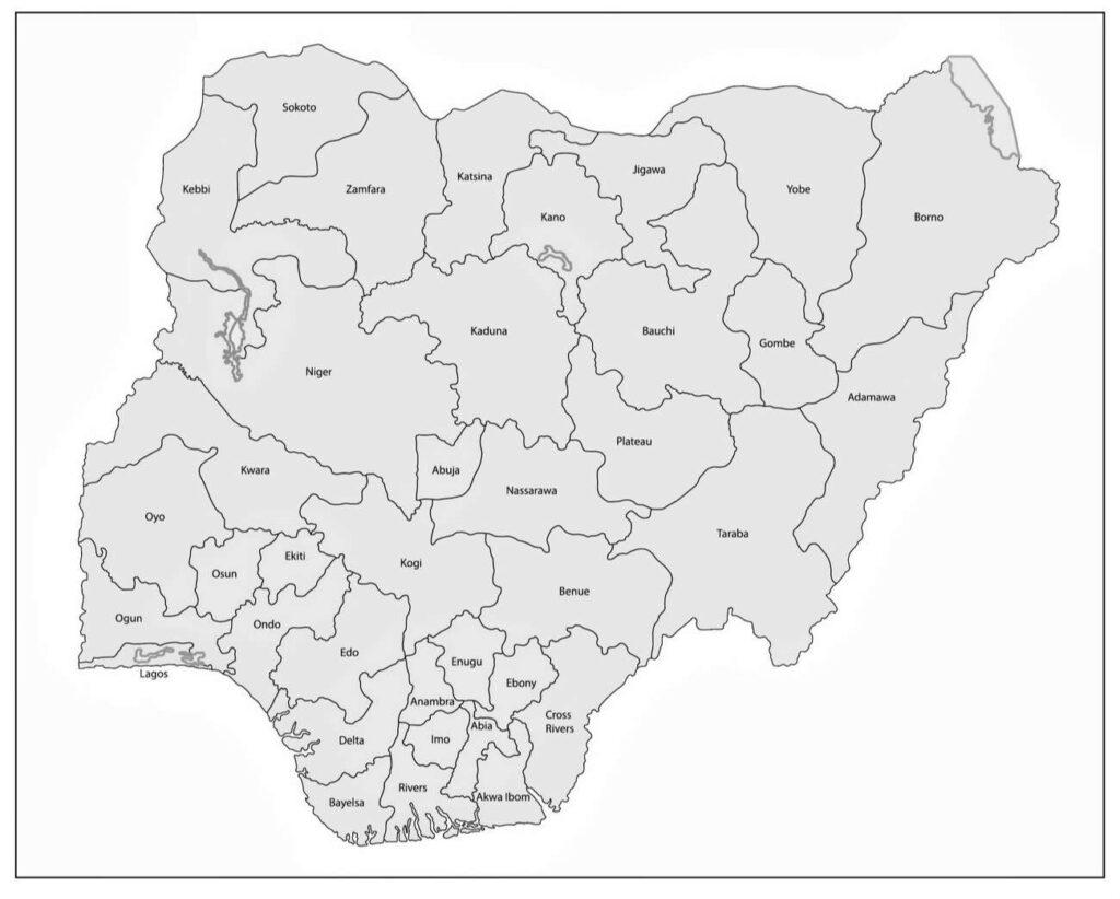 mapa nigeria para imprimir