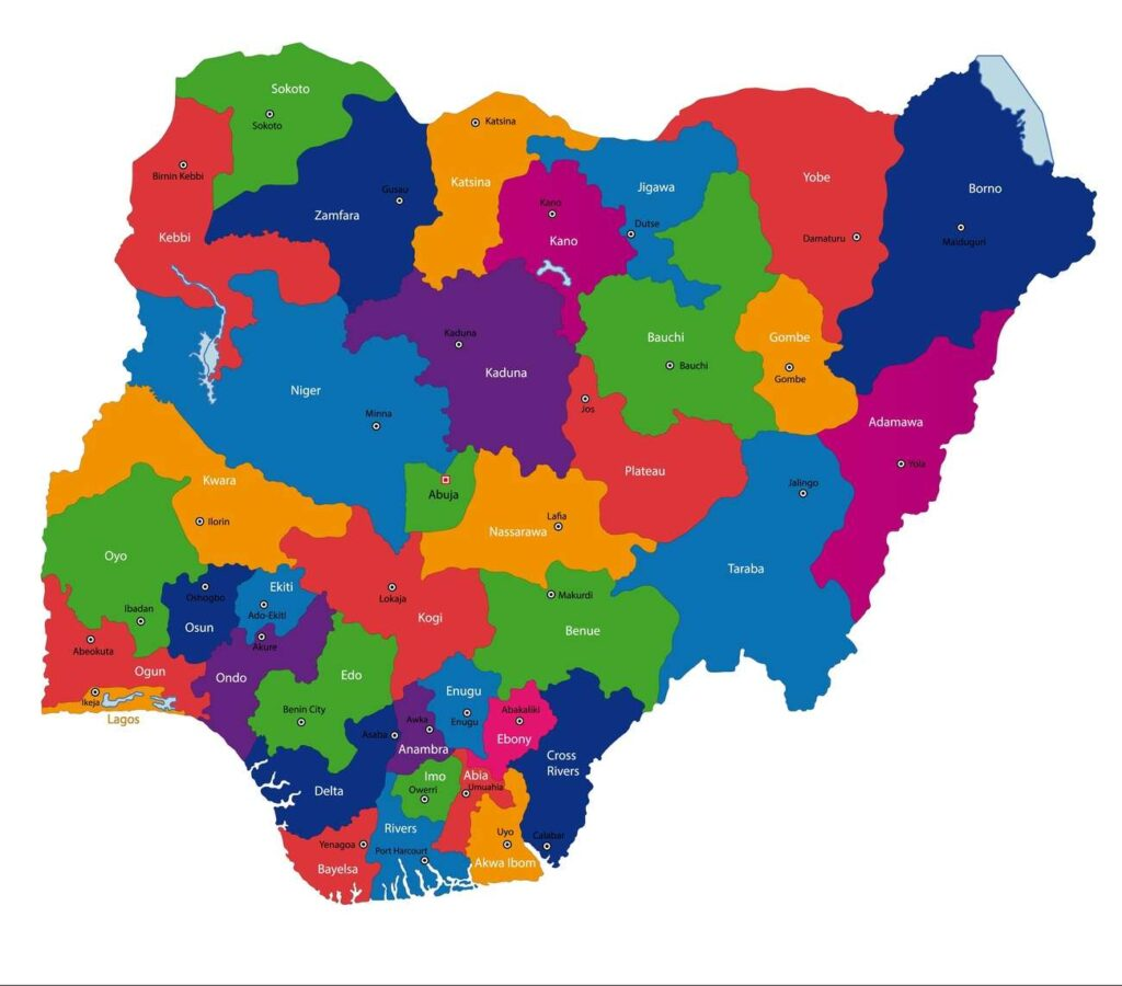 mapa nigeria politico